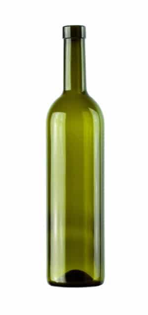 olive glass wine bottle